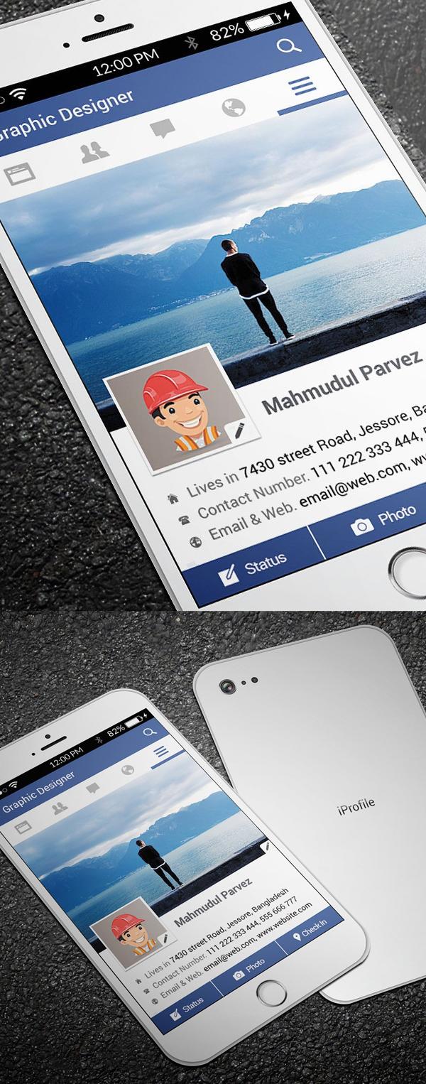 iPhone Facebook Business Card Design