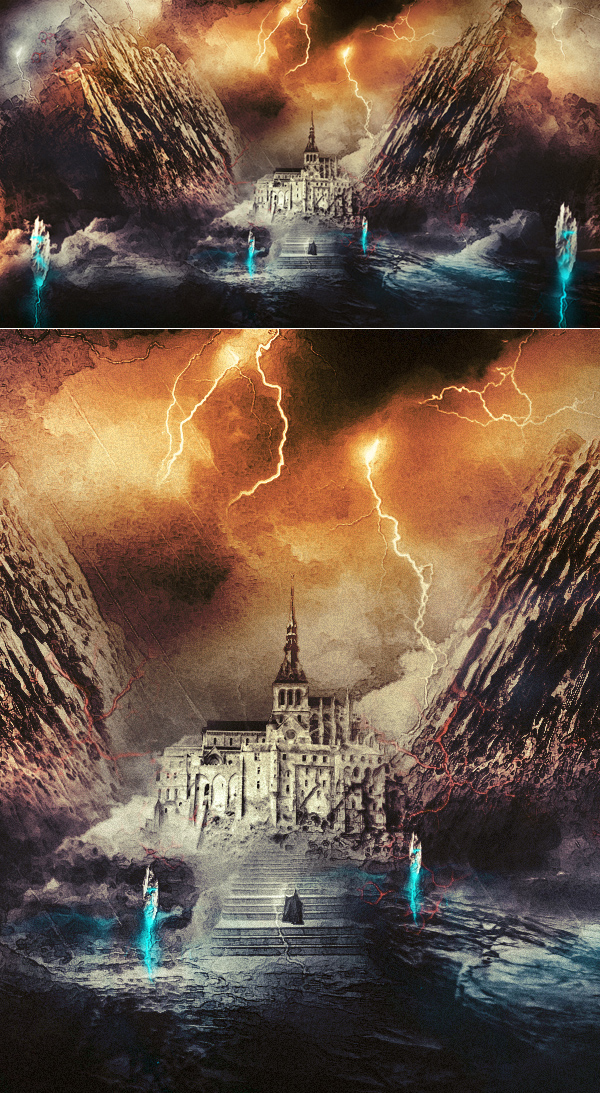 Create Wizard Summoning Lightning Magic Scene In Photoshop