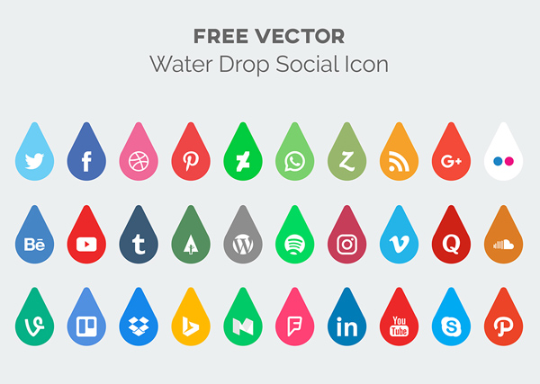 Free Water Drop Social Media Icon Pack