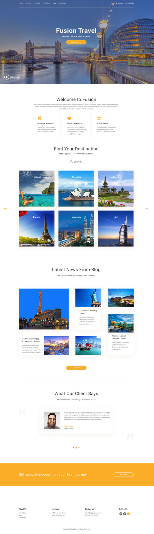 Fusion: Travel Agency Free Web Template