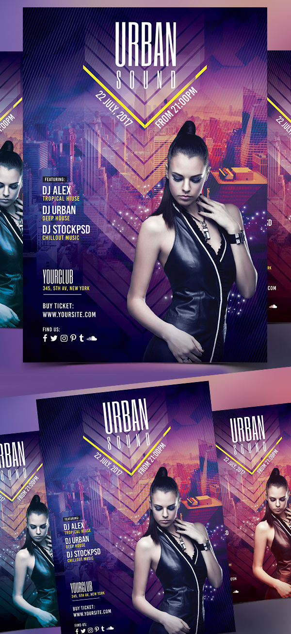 Urban Sound - Free PSD Flyer Template