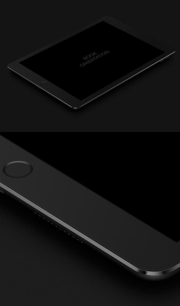 Free iPad Pro 9.7 Dark PSD Mockup