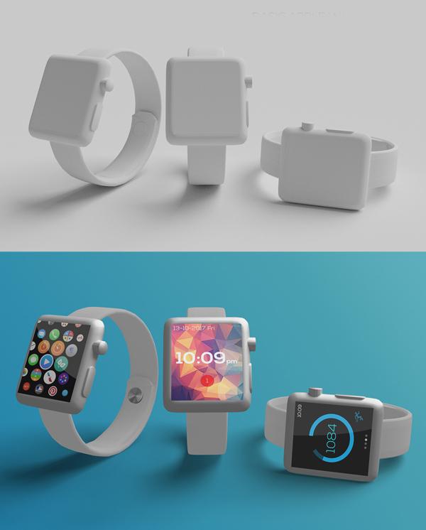 Free Basic Apple Watch Mockup 3in1