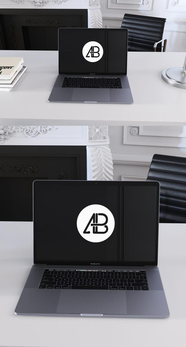 Free Realistic 2016 Space Gray MacBook Pro Mockup
