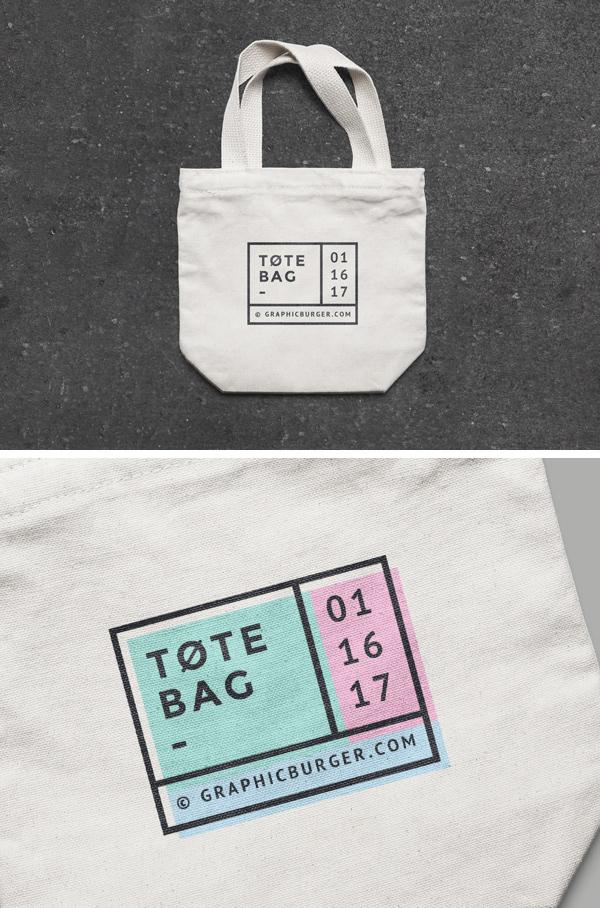 Free Small Canvas Tote Bag MockUp