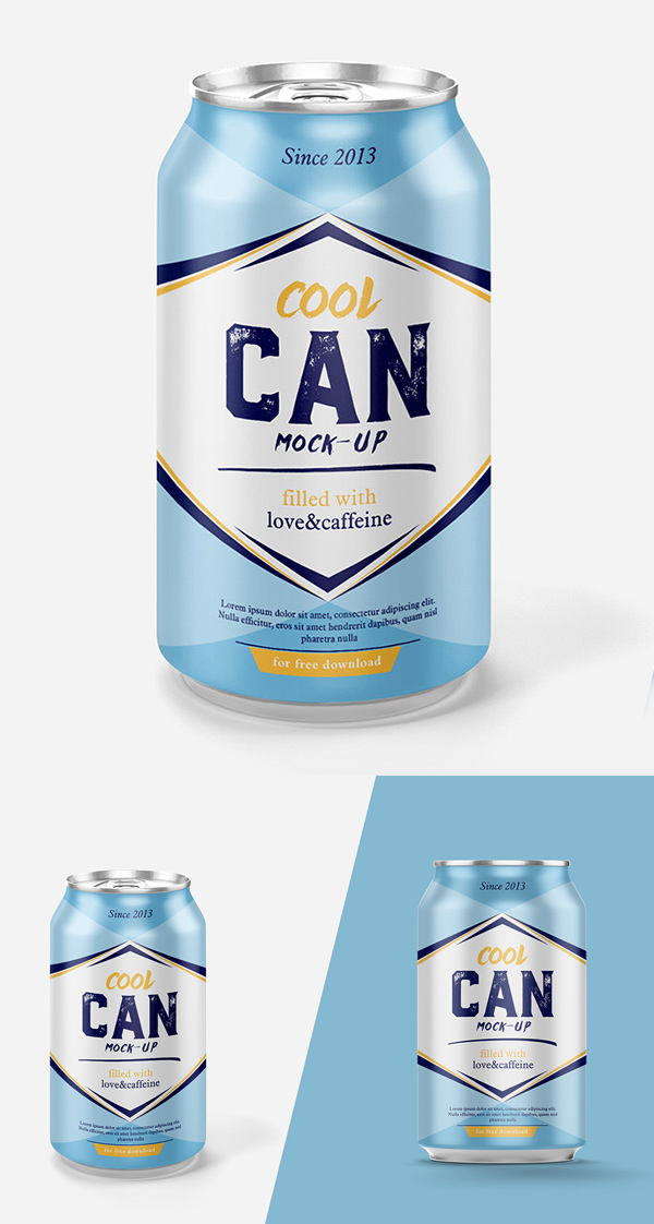 Free Highest Quality Drink Can Mockup PSD