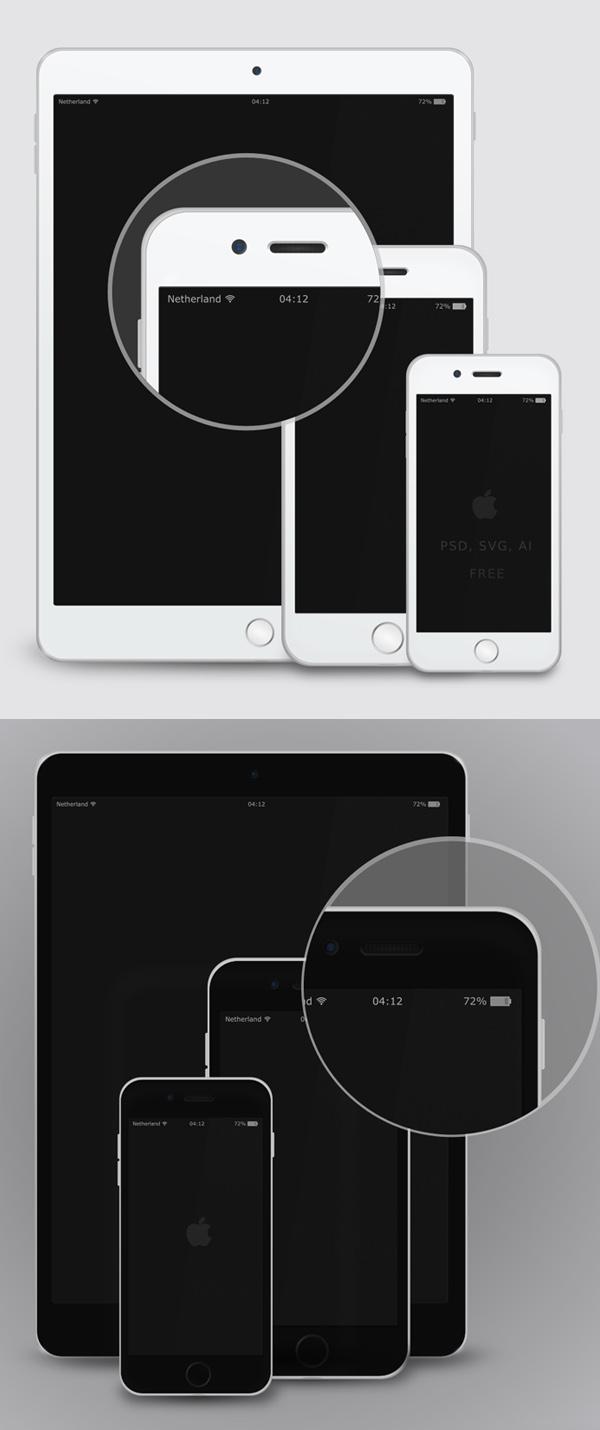 Free Vector Mockup - iPad &iPhone 6 - White & Black