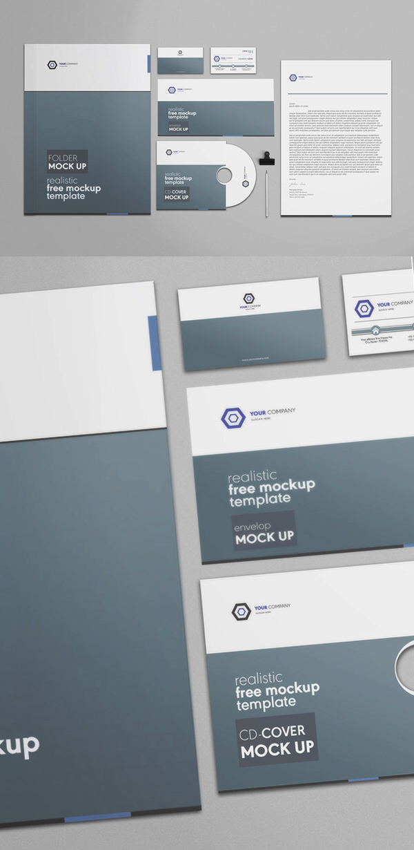 Free Corporate Stationery PSD Mockup Template