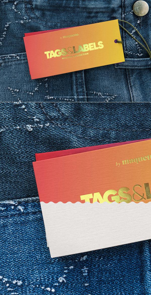 Free Jeans Tag PSD Mockup