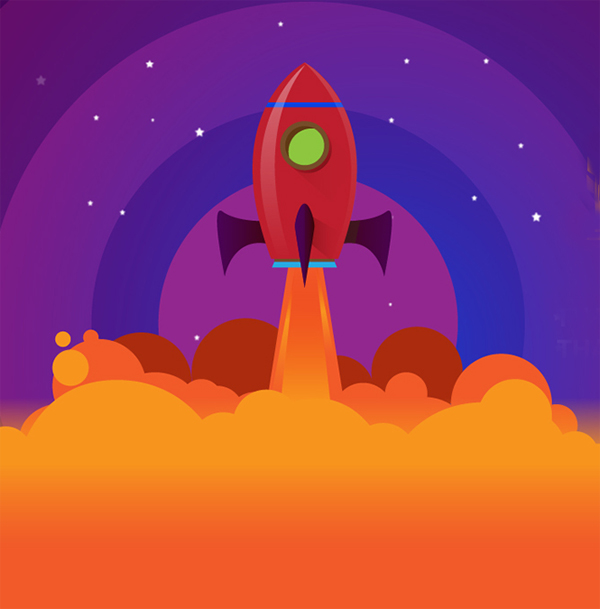 How to Create a Rocket Into Space Vector Art in Illustrator