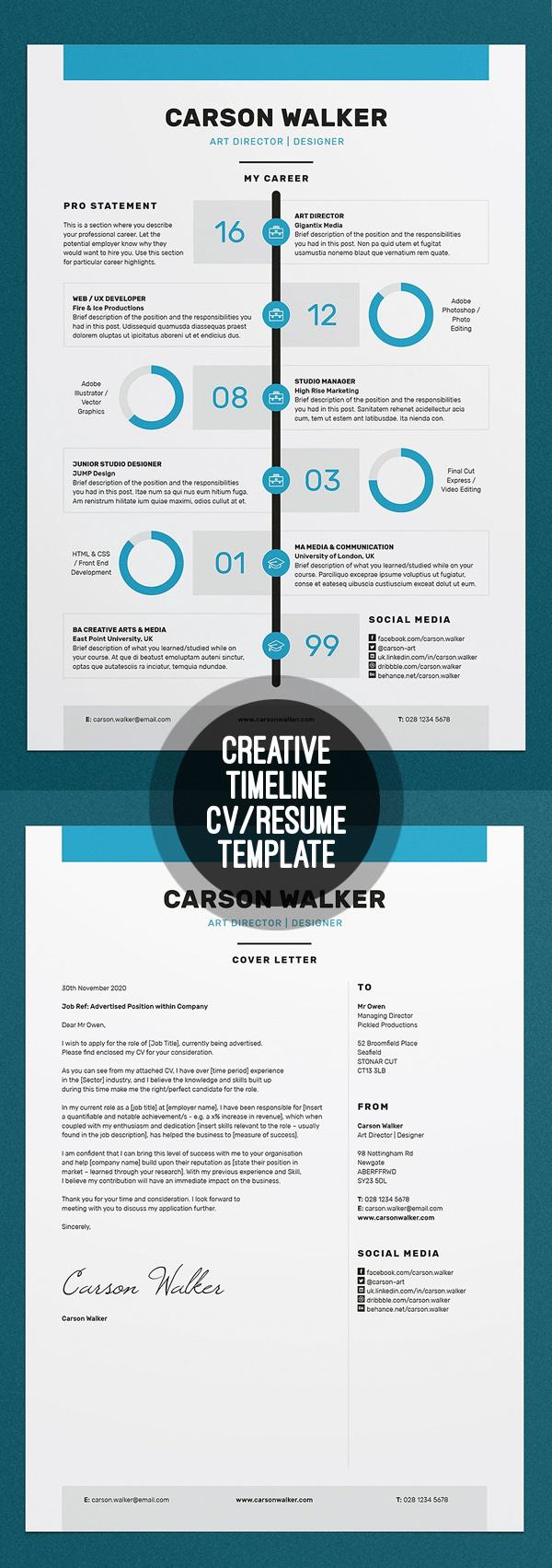 Creative Timeline Resume/CV Template