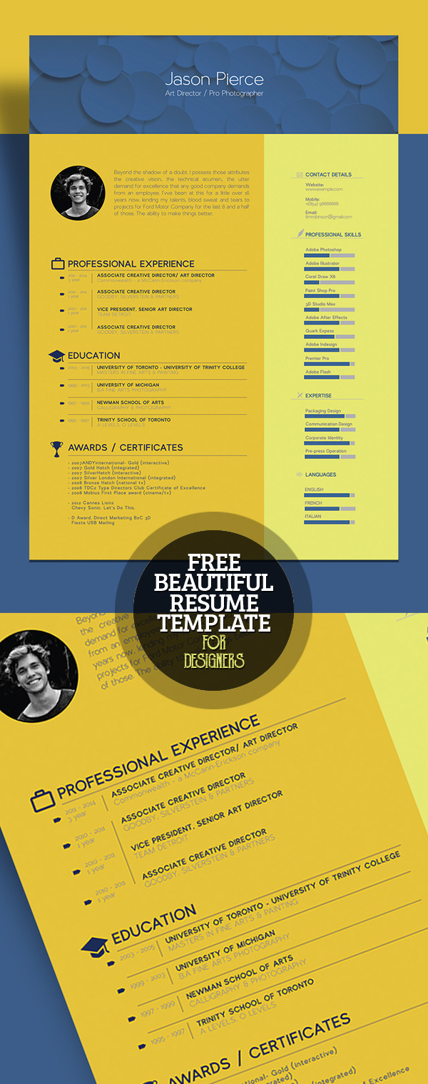 Free Beautiful Resume (CV) Template for Graphic Designer / Art Director