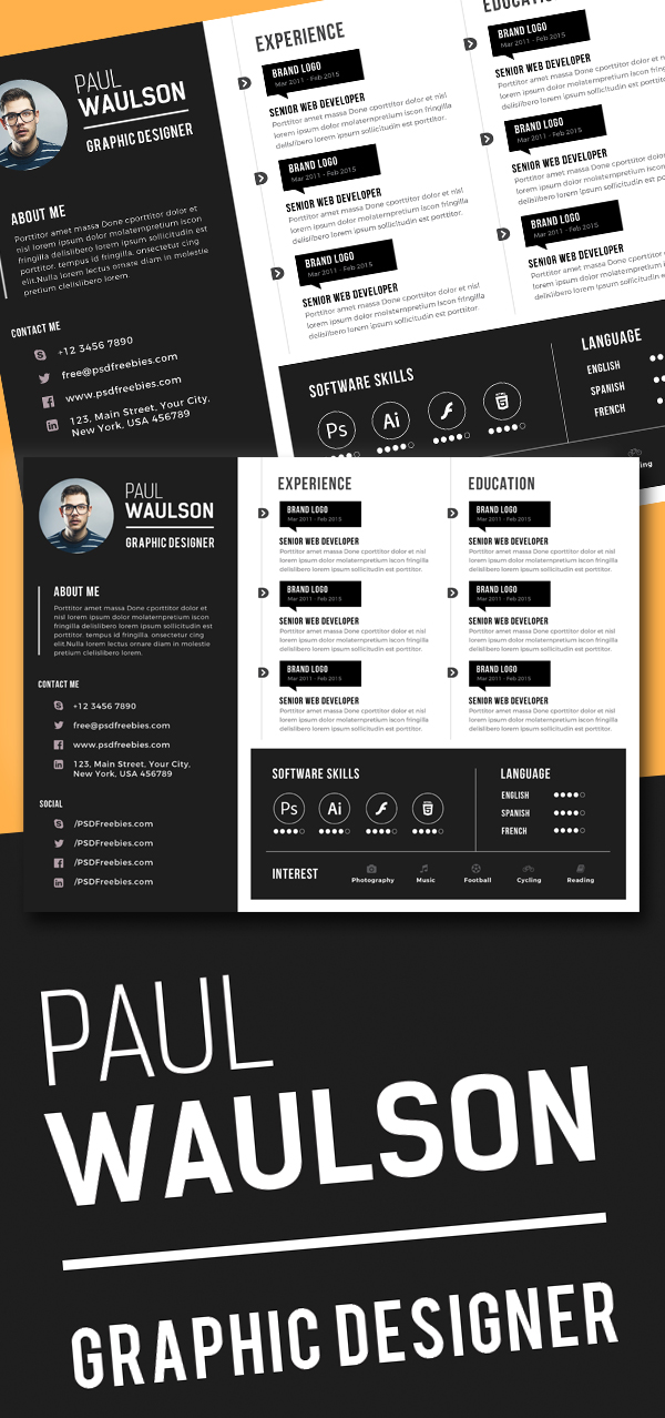 Free Creative Horizontal CV Resume Template PSD