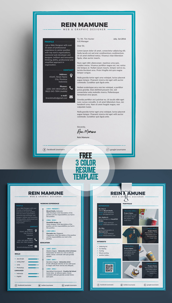 Free Minimal Resume Template (3 Colors)