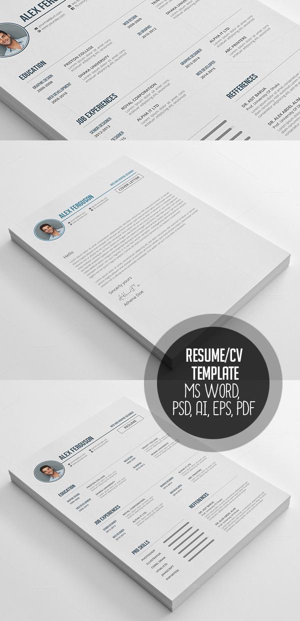 Resume CV Template MS Word, PSD, AI, EPS, PDF
