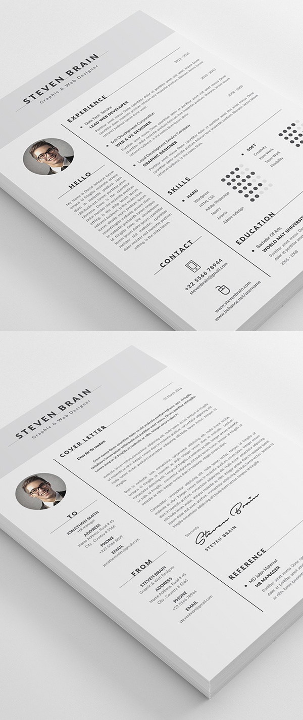 50 Best Cv Resume Templates With Cover Letter Idevie