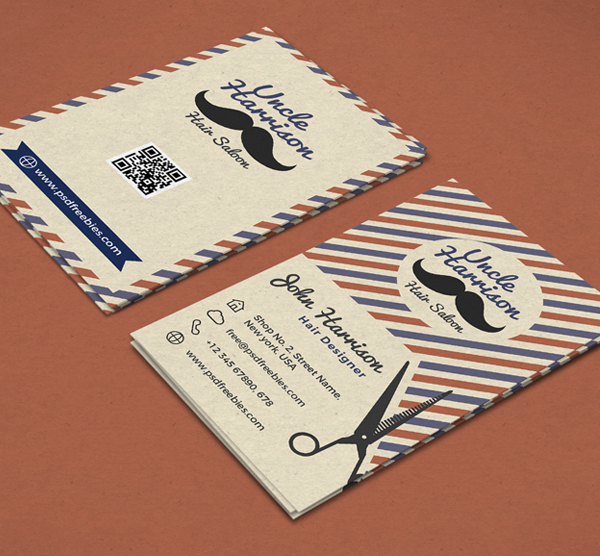 Free Retro Barber Shop Business Card PSD Template