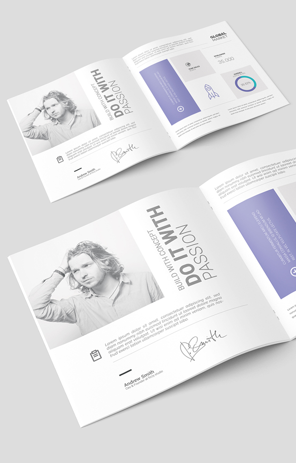 Free Square Brochure Catalog PSD Template