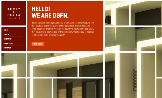 dsf dewey felix architects website design