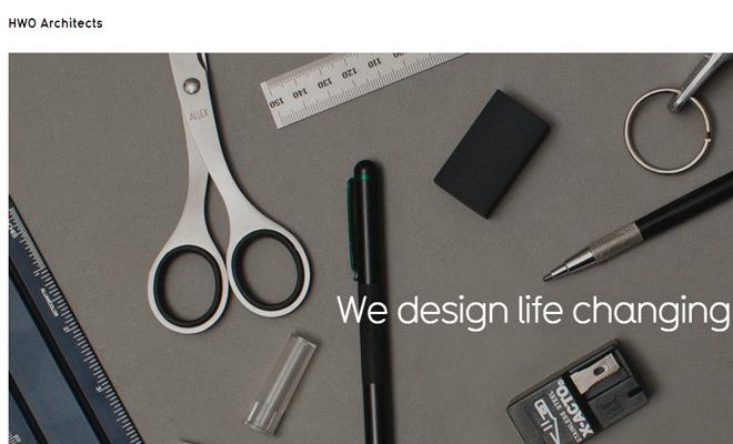 hwo architects website fullscreen layout