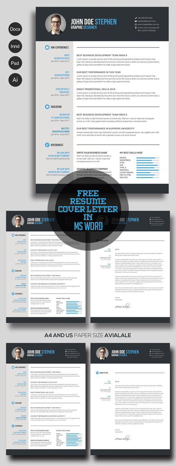 21 fresh free resume templates with cover letter idevie for Microsoft word graphic design