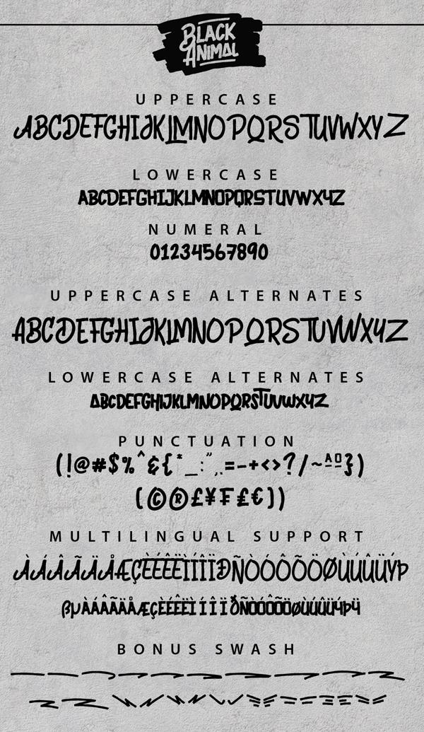 Black Animal Free Font & Letters