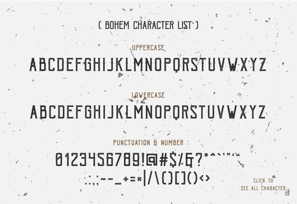 Bohem Press Free Font & Letters
