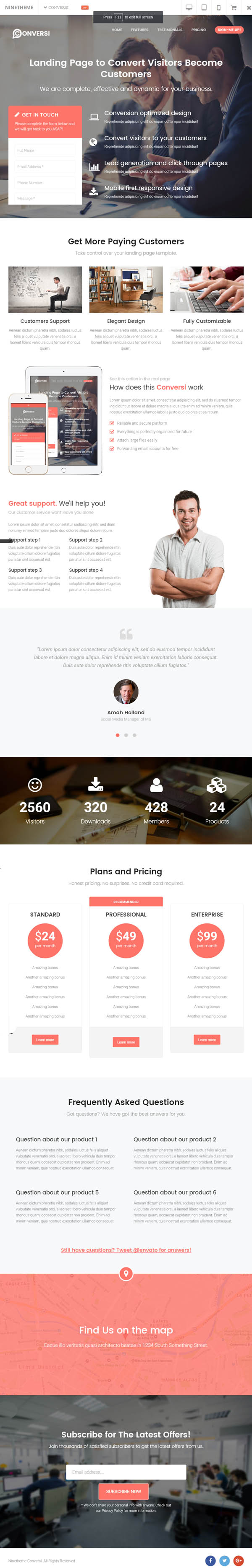 Conversi – Professional Conversion WordPress Landing Page