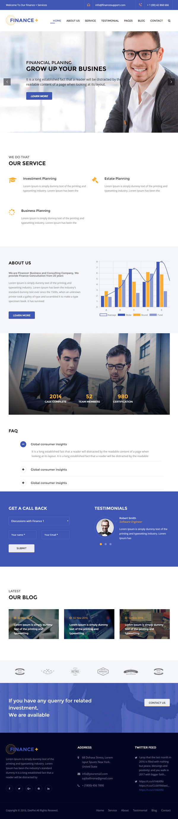 Finance + Corporate Business and Consultancy WordPress Theme