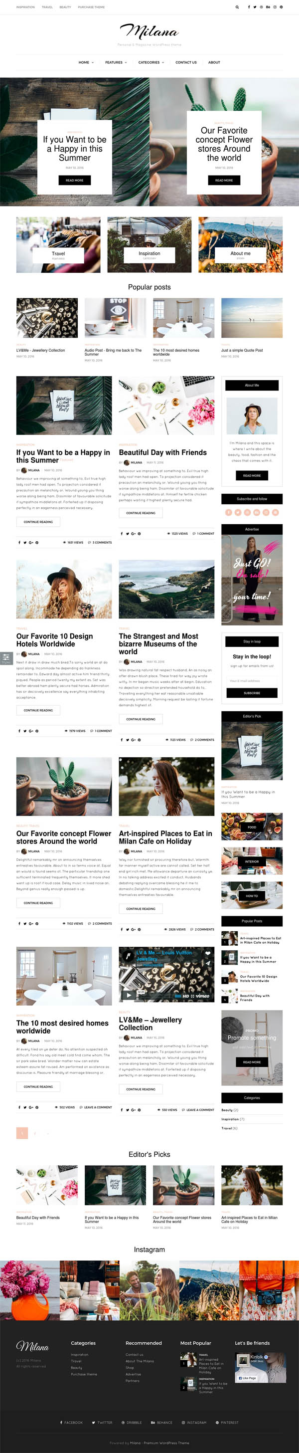 Milana – Personal & Magazine WordPress Responsive Fast Blog Theme