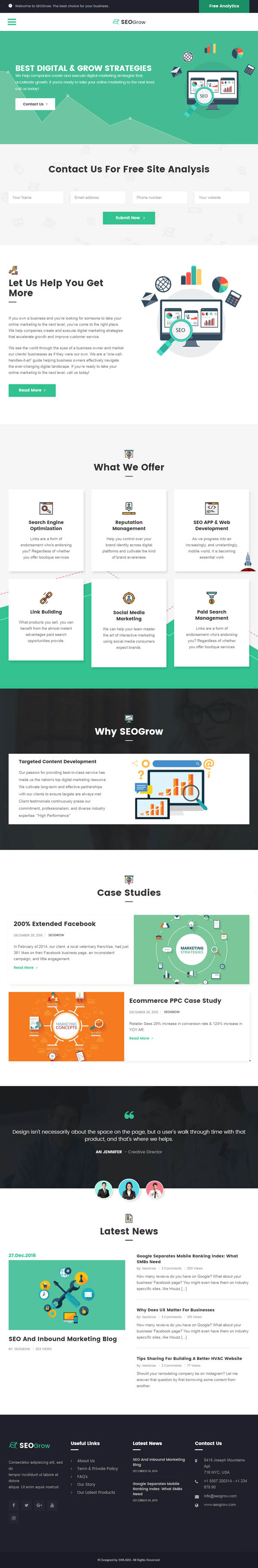 SEO Grow – SEO, Online Digital Marketing, Growth Hacking WordPress Theme