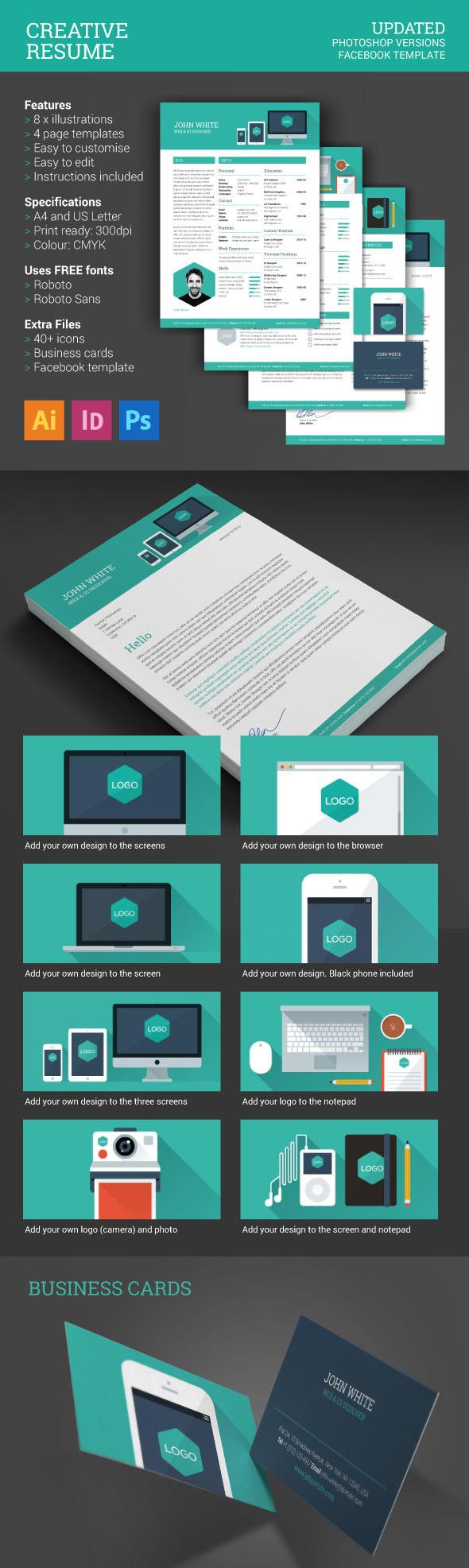 Flat, Minimal Style Creative Resume Design
