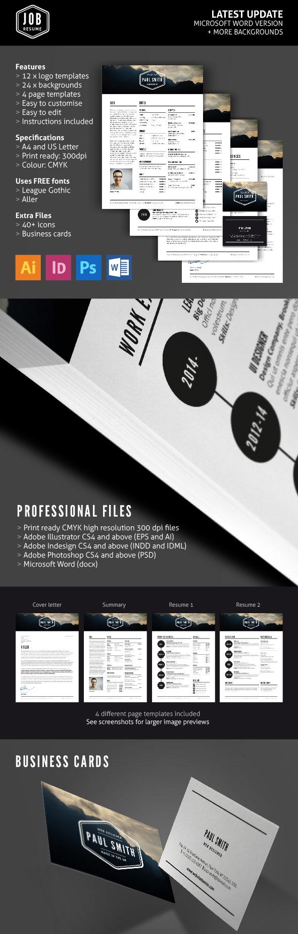 Job Resume Template Set (With Logos & Business Cards)