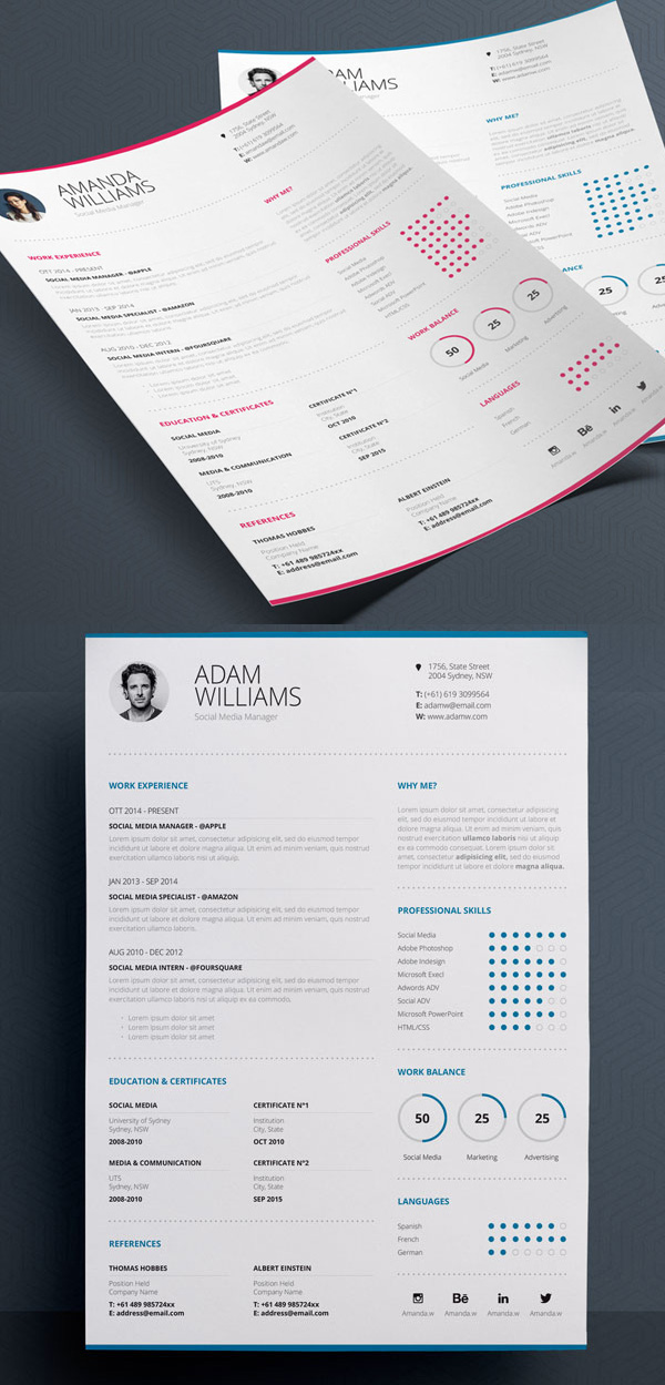 Clean Resume 7 – Word & Indesign Template