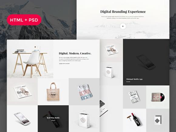 Snow: Free PSD + HTML portfolio template