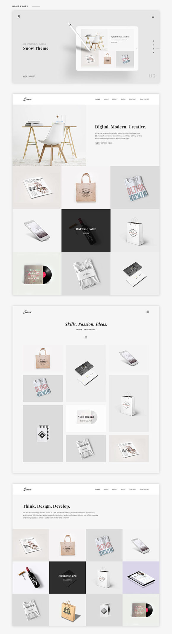Snow portfolio template - Preview