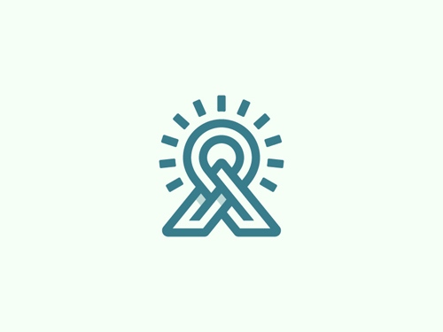A Mountain, Sun, Pin Line Logo by David Dreiling
