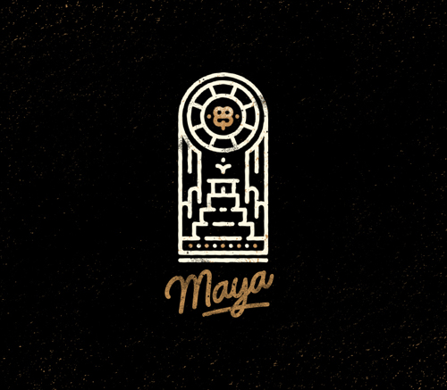 Maya Line Art Badge/ Logo By Andy Kurochkin