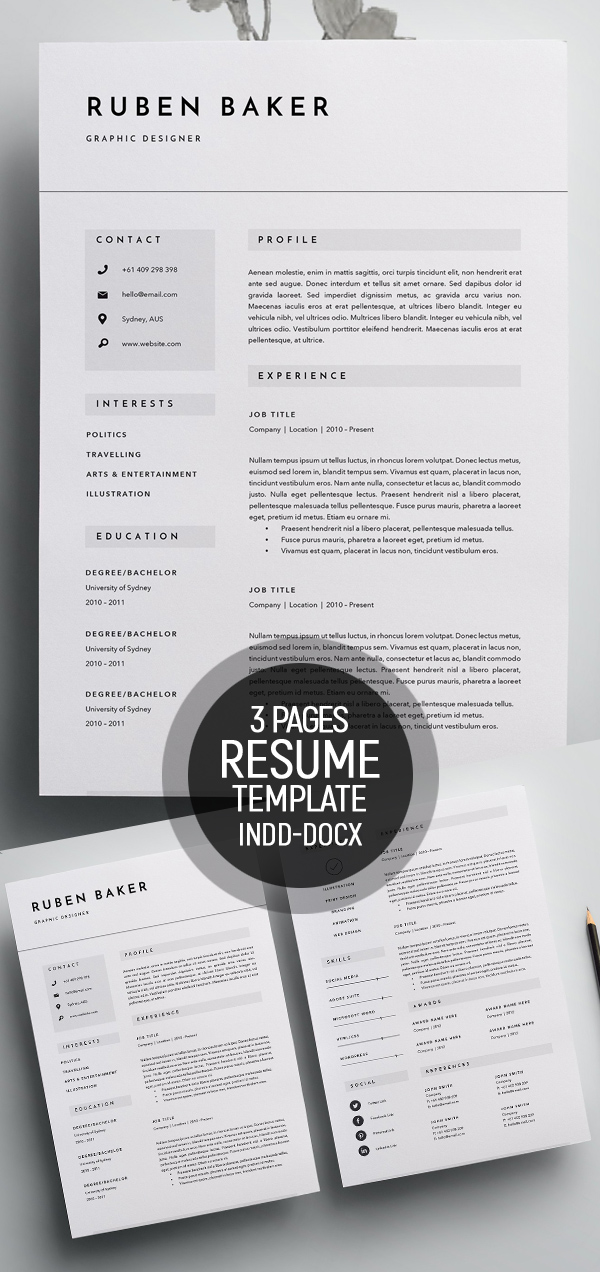 Modern Resume Template for Word and Pages Page Resume S&le Resume Pages