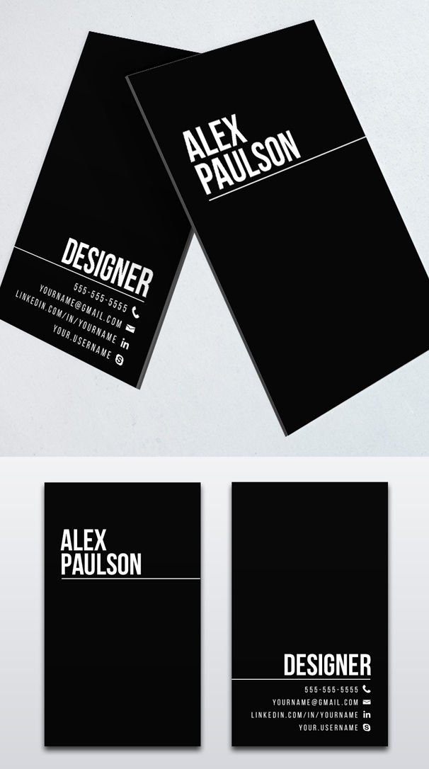 Minimal Black Business Card Design