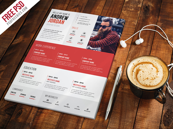 Free Creative Resume CV Template PSD