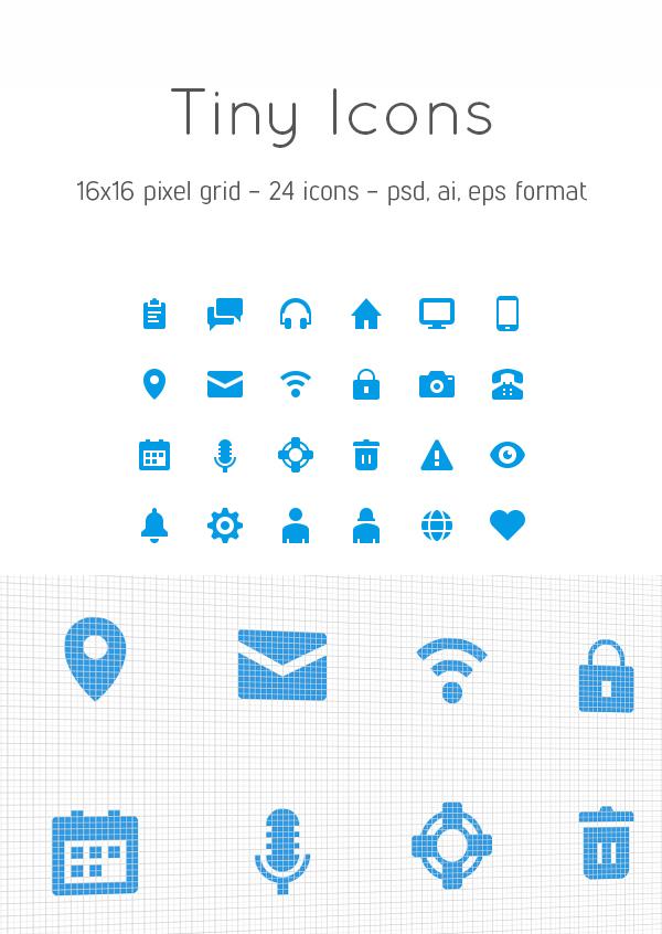 Free Tiny Icons (16x16 - 24 Icons, PSD, AI & EPS format)
