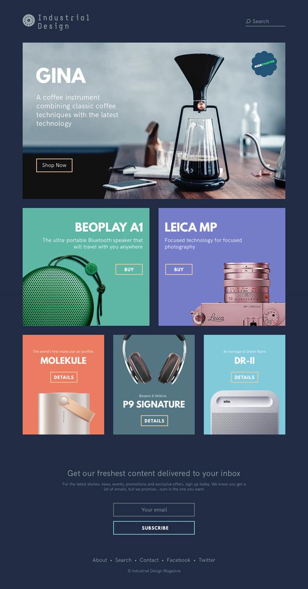 Free Industrial Design Magazine (.sketch, .psd, .xd)