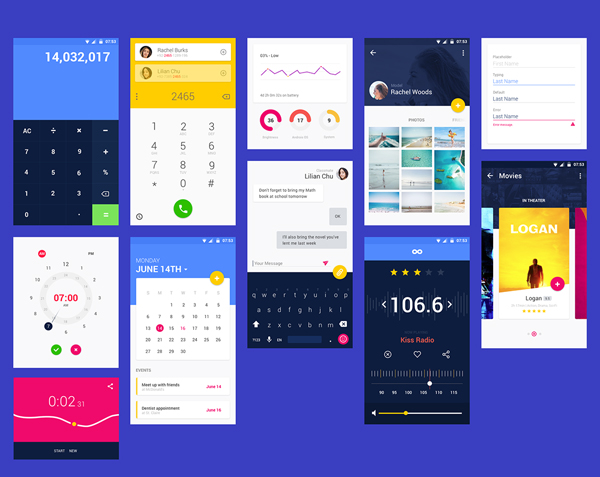 Free Material UI Kit (.sketch, .psd, .xd)