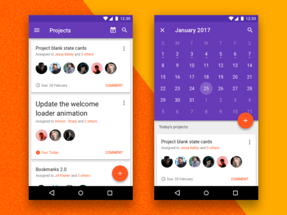Android Nougat free UI kit for Sketch