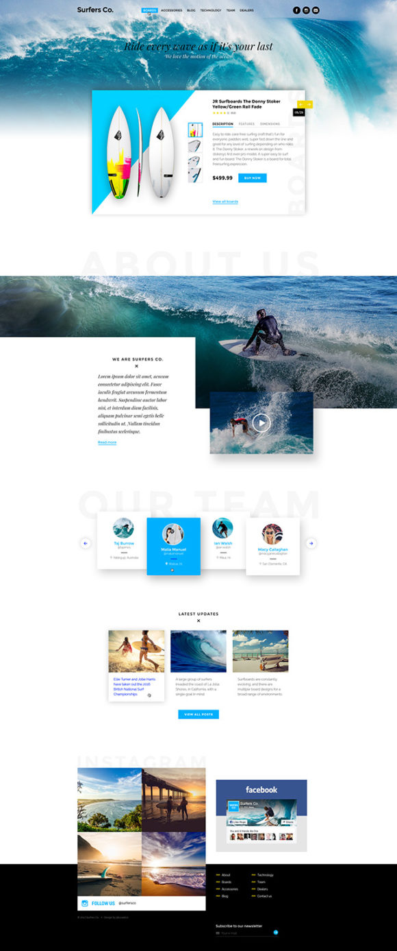 Surfers Co. template - Full preview