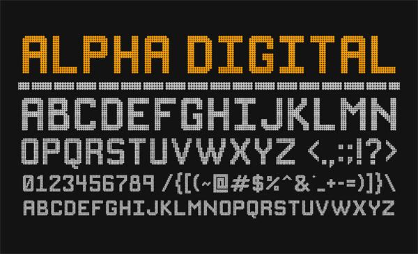 Alpha Digital Free Font Letters
