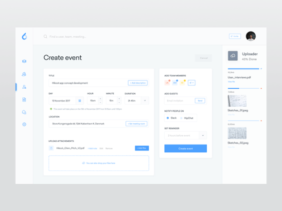 ooto dashboard template: The event screen