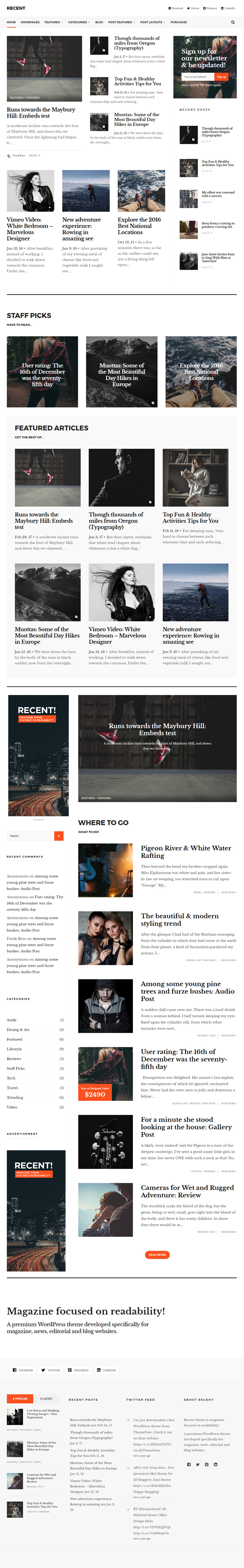 Recent - Magazine WordPress theme focused on readability