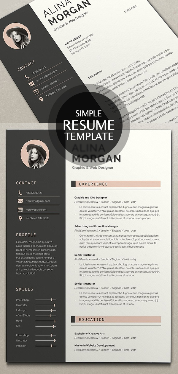 18 New Clean Cv Resume Templates With Cover Letter Idevie